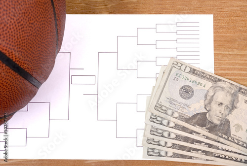 March Madness Basketball Bracket and Fanned Money
