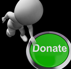 Donate Button Shows Charity Donations And Fundraising