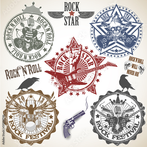 Set of stamps with symbols rock'n'roll