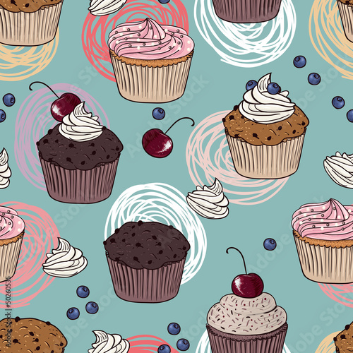 Sticker cakes seamless pattern