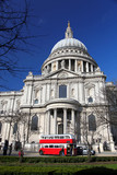St. Paul's Cathedral with  red double-decker in London, England