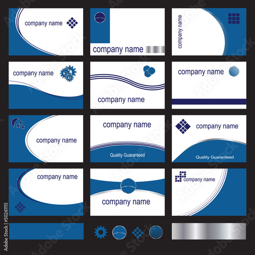 Twelve blue business cards