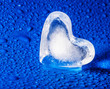 heart of ice on a blue dewy background