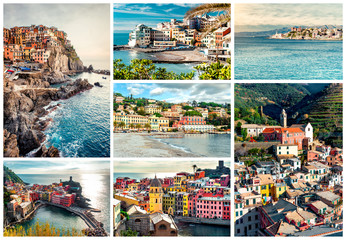 Collage of most famous landmarks in Italy. Italian Riviera