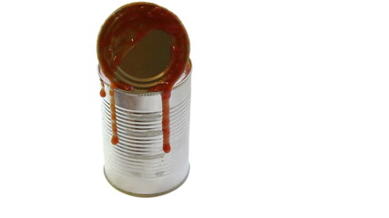 Metal can with tomato sauce