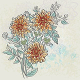 Vintage background with flowers dahlia color.