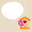 Pink Bird Leg In Plaster Birdhouse Speech Bubble Beige