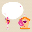 Pink Bird Birdhouse Gift Balloons Speech Bubble