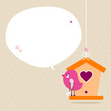 Pink Bird Leg In Plaster Birdhouse Speech Bubble Beige
