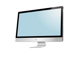Modern LCD monitor. Isolated on white.