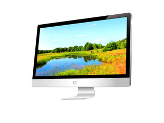 Illustration of modern LCD monitor with landscape in the screen.