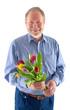 Mann mit Tulpen