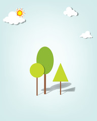 Vector applique. Trees under the clouds