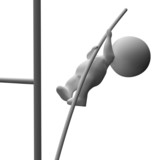 High Jump 3d Character Shows Achievement And Success