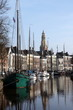 Ships and canalhouses in the city Groningen.The Netherlands