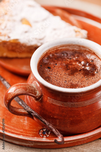 almond cake with hot chocolate