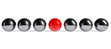 Red sphere among chrome spheres