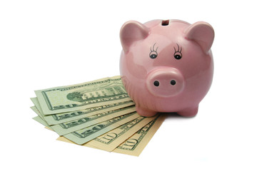 pig bank on dollars isolated on white background