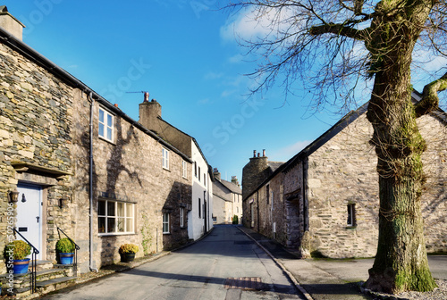 View of a street in Cartmel, Cumbria with tree
