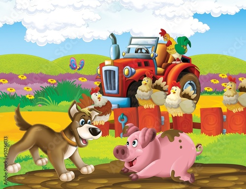 Foto op Plexiglas Boerderij The life on the farm - illustration for the children