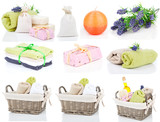 set of toiletries for relaxation, isolated on white background poster