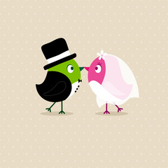 Wedding Couple Birds Beige Dots Green/Pink