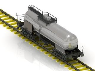 Shiny metal tank car of oil