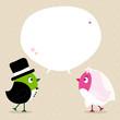 Wedding Couple Birds Speech Bubble Beige Green/Pink