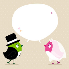 Wedding Couple Birds Speech Bubble Beige Green/Pink