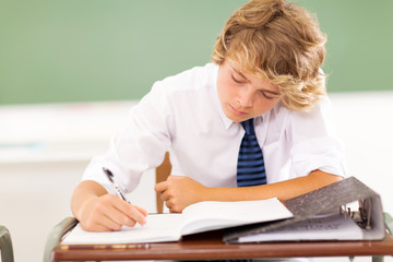 high school student writing in classroom