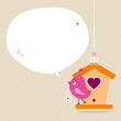 Pink Bird Flower Speech Bubble Beige Dots
