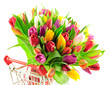 Rainbow Mix Tulips in Shopping Cart