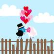Wedding Couple Birds Fence Heartballoons