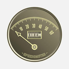 Speedometer in retro style - vector illustration