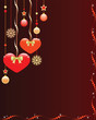 Christmas background with cute hearts and ornaments.