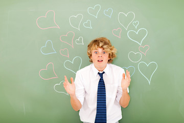 young high school student is confused by love