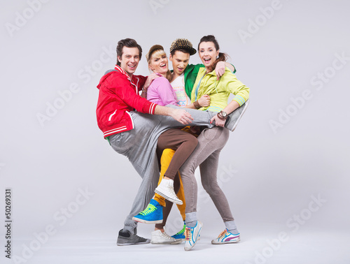 Two couples in funny position