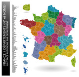 Carte de France - Départements + liste