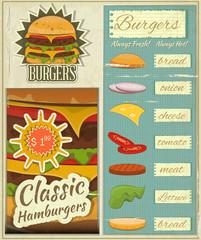 Burgers Menu Set Retro
