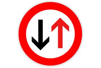 Verkehrszeichen: Dem Gegenverkehr Vorrang gewähren!