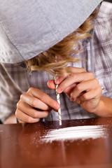 teenager boy snorting heroin