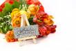 Muttertagskarte auf Staffelei mit Tulpen