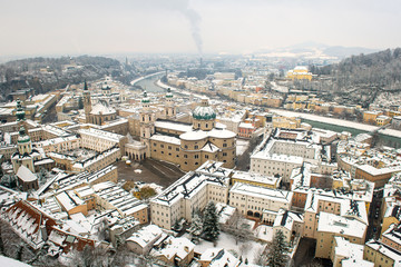 Winter view on downtown, Salzburg, Austria