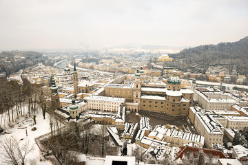 Winter view on downtown, Salzburg, Austria
