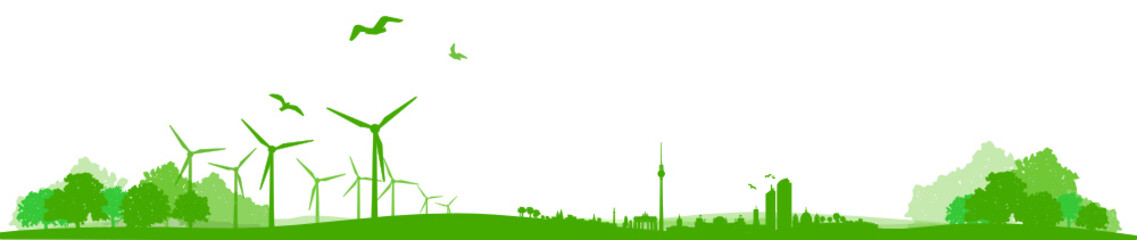 Skyline Berlin Windräder