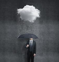 man and rain