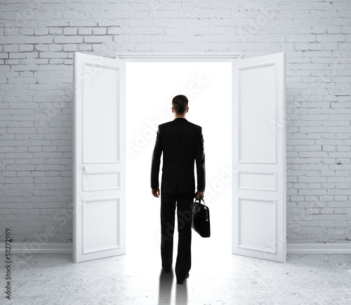 man in brick room