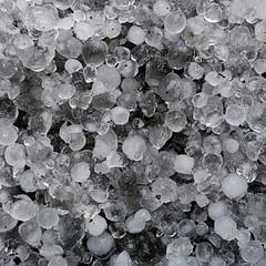 Hail, hailstones - frozen ice macro