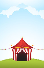 Vector illustration of a circus tent with cloud background