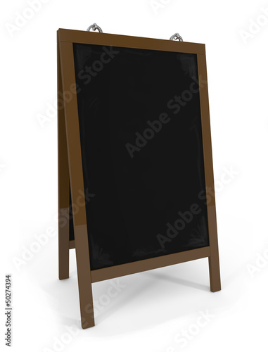 Empty menu board isolated on white